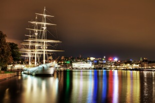 Skeppsholmen by night.